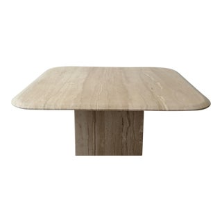 Square Polished Italian Travertine Coffee Table For Sale