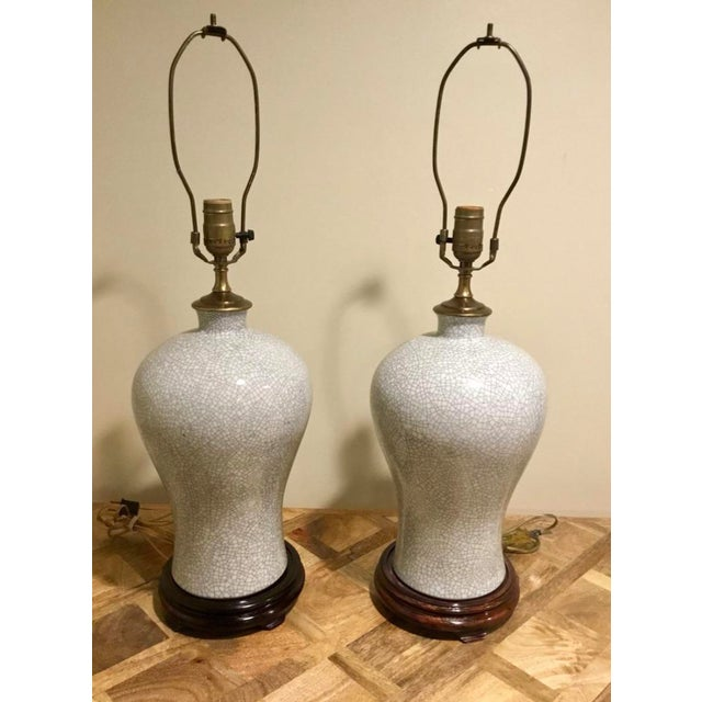 Chinoiserie Crackle Vase Table Lamps -- a Pair For Sale - Image 4 of 8
