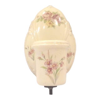 1940s Era Floral Ceramic Wall Sconce