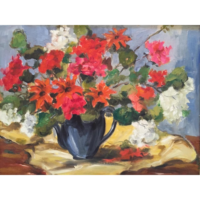 Canvas 1950s Clifford Holmes Floral Still Life For Sale - Image 7 of 10