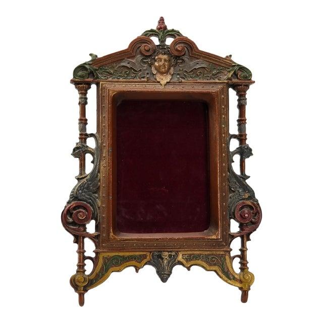 Antique Cast Iron Photo Frame - Italianate Renaissance/Victorian/Style For Sale
