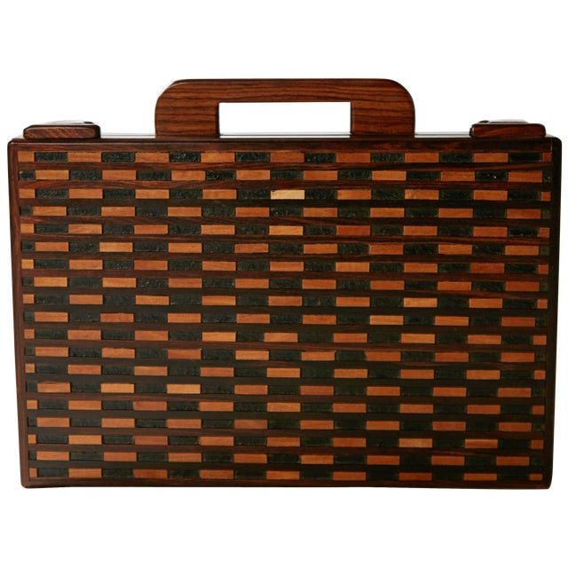 1970s Don Shoemaker for Señal Exotic Wood Inlaid Decorative Briefcase For Sale