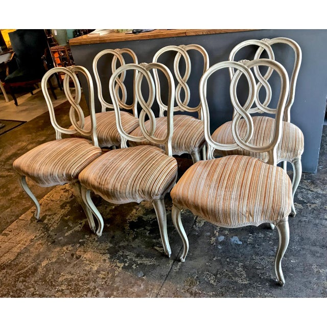 Set of 8 Italian-Ventian Style Ribbon Back Dining Chairs For Sale - Image 10 of 12