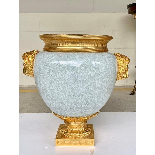 Metal Chinese Crackle Glaze and Ormolu Lion Motif Urn For Sale - Image 7 of 9
