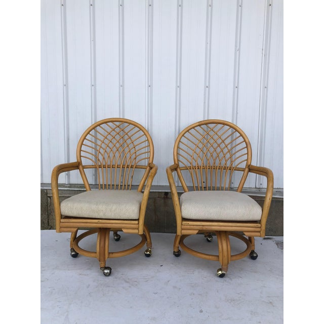 Brown Vintage Glass Top Rattan Table and Wheeled Chairs Set - Set of 5 For Sale - Image 8 of 13