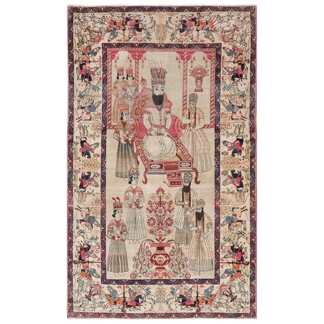 Pictorial Antique Persian Kerman Rug - 4′8″ × 7′6″ For Sale - Image 13 of 13