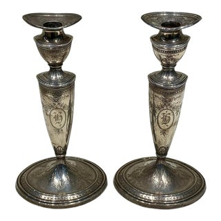 Antique Bigelow Adam Sterling Candlesticks- a Pair For Sale