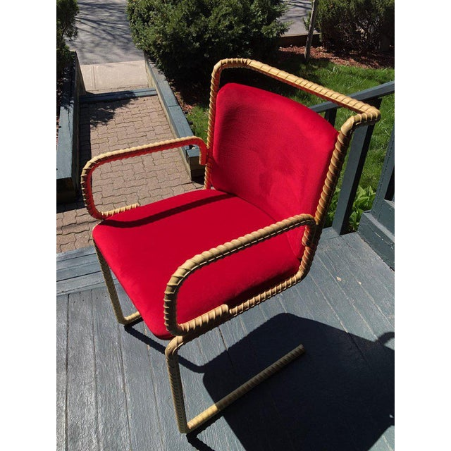 Contemporary 21st Century Custom Contemporary Steel Frame Suede Leather Seat & Backrest Chair For Sale - Image 3 of 10