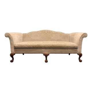 Hickory Chair Co Chippendale Carved Mahogany Ball in Claw Camel Back Sofa For Sale