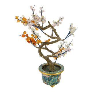 Vintage Chinese Jade Tree With Cloisonne Planter For Sale