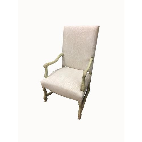 Painted French library chairs. Beautiful and sturdy. These have been recently recovered in Suzanne Tucker 100% linen faux...