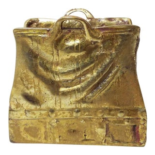 Antique Solid Brass Valise Purse Match Holder For Sale