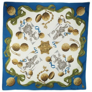 1950's Vendome French Silk Scarf With Trompe l'Oeil Time Pieces For Sale