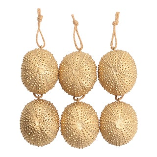 Golden Sea Urchin Ornaments - Set of 6 For Sale