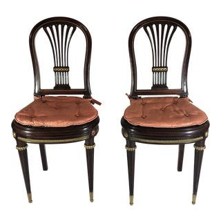 Pair of Antique French Superb Mahogany and Ormolu Mounted Chairs
