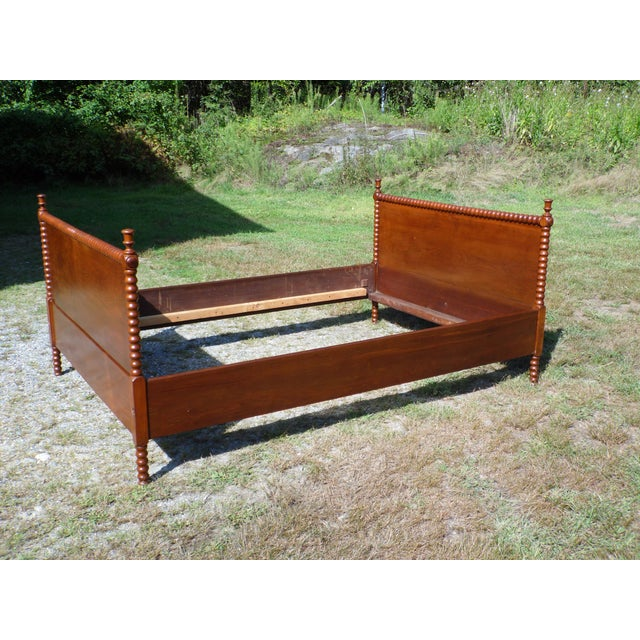 Wood Antique Solid Hardwood Double Full Size Jenny Lind Spool Bed Tulip Finial Daybed For Sale - Image 7 of 13