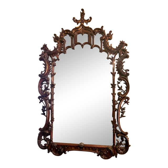 Magnificent Antique 19th Century English Chippendale Carved Wood Mirror. For Sale