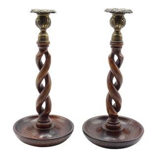 "19th-Century Antique English Oak Twist Candlesticks, 11"" - a Pair For Sale"