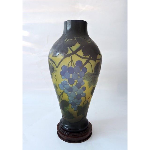 French 'Galle' Style Vine & Grape Glass French Vase For Sale - Image 3 of 6