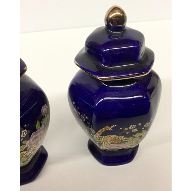 Japanese Mini Japanese Cobalt Ginger Jars - A Pair For Sale - Image 3 of 11