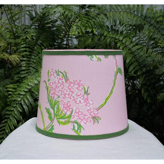 Lilly Pulitzer Fabric Pink, Green Tapered Drum Lampshade For Sale - Image 9 of 12