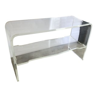 Vintage Mid Century Modern Lucite Console Table For Sale