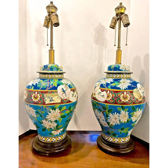 Blue Pair 19th Century Majolica Longwy Lamps For Sale - Image 8 of 8