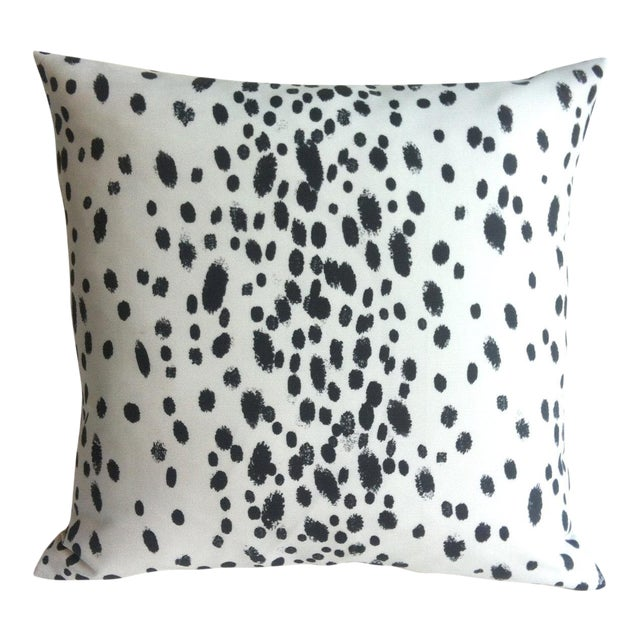 Les Touches Style Linen Charcoal Dotted Pillow/Cushion Cover - Image 1 of 5