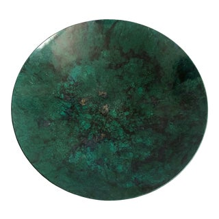 Large Vintage Marbleized Green Couroc Tray For Sale