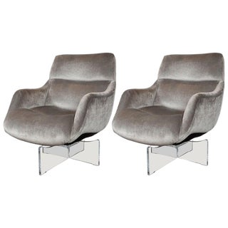 Midcentury Lucite and Platinum Velvet Swivel Lounge Chairs by Vladimir Kagan For Sale