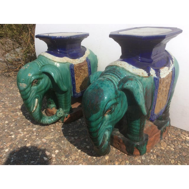 Blue Pair of Antique Chinese Ceramic Elephant Garden Stools For Sale - Image 8 of 10