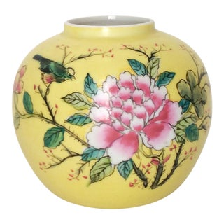 Japanese Porcelain Ware Yellow With Pink Flowering Branch and Bird Vase For Sale