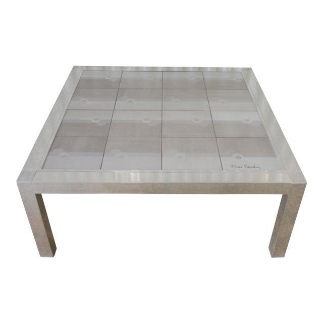 Large 1970's Pierre Cardin Mod Tile Top Aluminum Coffee Table For Sale
