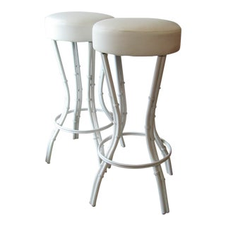 1980s Vintage Faux Bamboo Metal Leg White Leather Stools- a Pair For Sale