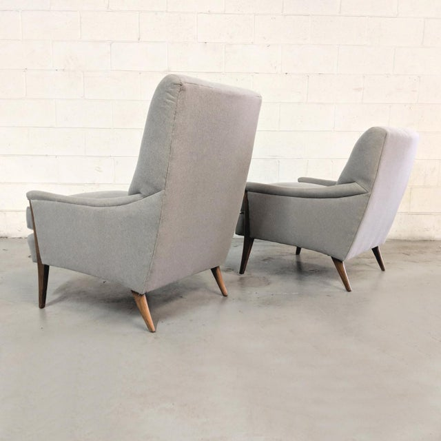 Kroehler Kroehler Mid-Century Modern Gray Wool Walnut Lounge Chairs - a Pair For Sale - Image 4 of 13
