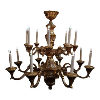 Early 20th Century French 16-Light Bronze Chandelier