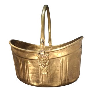 Vintage Brass Lion-Head Accent Basket