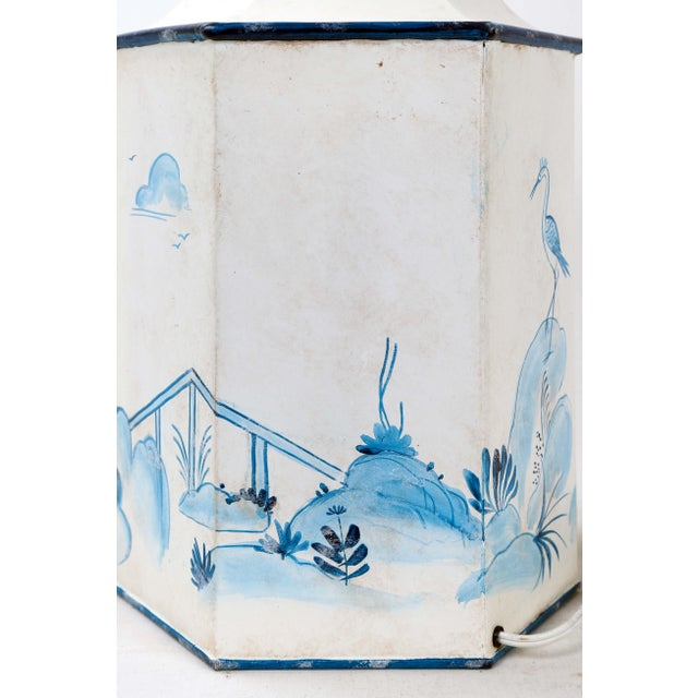 White Mid 20th Century Vintage Hexagonal Blue & White Tole Tea Caddy #2 For Sale - Image 8 of 10