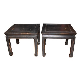 1960s Black Chinese End Tables - a Pair For Sale