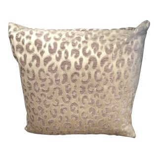 Light Gold and Brown Cheetah Woven Pillow With Feather Insert For Sale