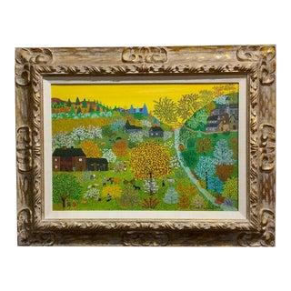 Helena Adamanoff - Russian Farmland Landscape - Beautiful Oil Painting 1958