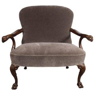 Early 20th Century Edwardian British Walnut Chair with Carved Hawk Gargoyle Arms For Sale
