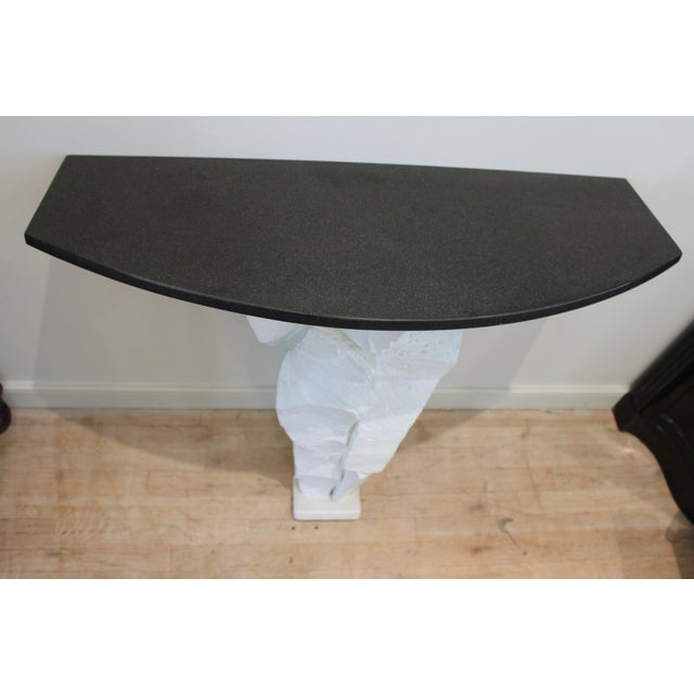 Brutalist Console Table With Black Stone Top For Sale In New York - Image 6 of 13