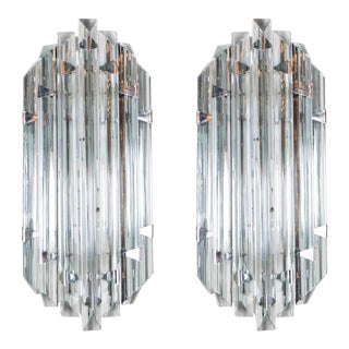 Pair of Mid-Century Modernist Sconces in Smoked Murano Glass & Nickel For Sale