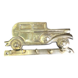 Vintage Mid-Century Brass Car Wall Hook For Sale