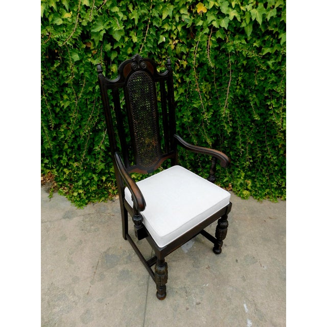 1940s Vintage Spanish Style Cane Back Arm Chair For Sale - Image 5 of 5