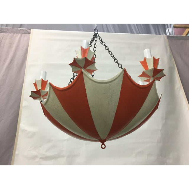 Vintage Up side down French Chinoiserie Umbrella Chandelier with 6 lights, color in cream and orange. Make a room with...