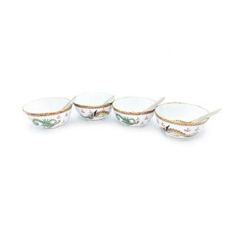 Vintage Mid-Century Zhongguo Porcelain Hand Painted Chinese Dragon and Phoenix Bowls and Spoons - 8 Piece Serving Set For Sale
