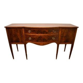1960's Duncan Phyfe Style Burled Walnut Sideboard Buffet For Sale