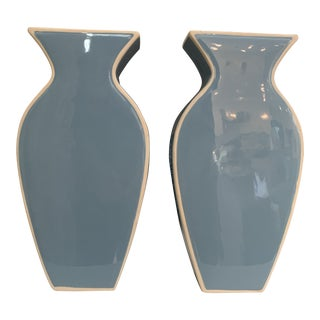 Modern Blue and White Ceramic Chinoiserie Vases- a Pair For Sale